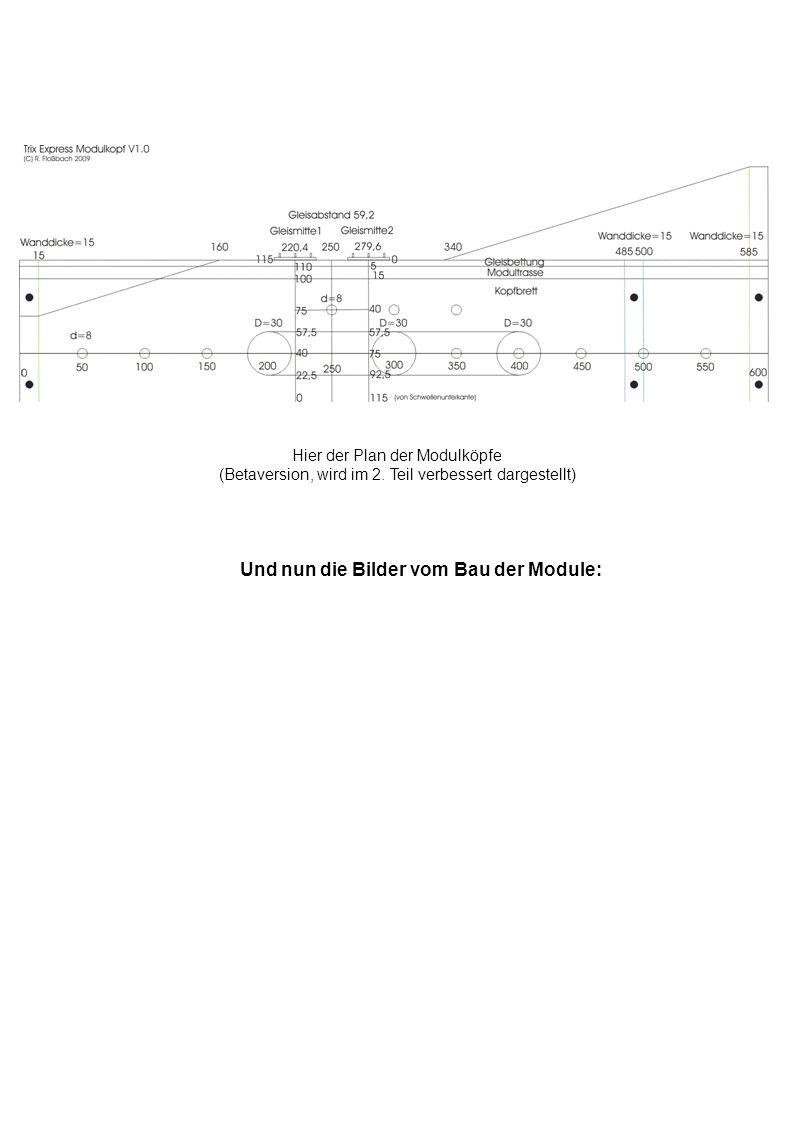 Hier der Plan der Modulköpfe (Betaversion, wird im 2. Teil verbessert dargestellt) Und nun die Bilder vom Bau der Module: