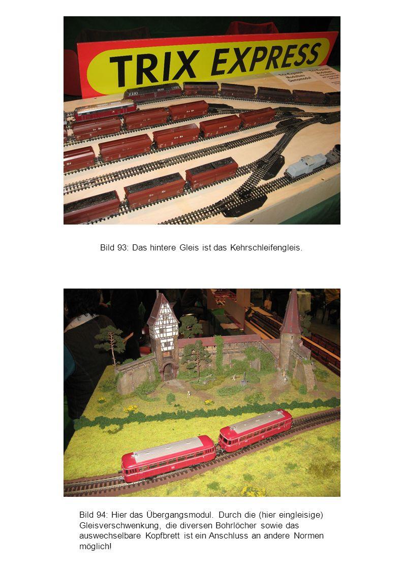 Bild 94: Hier das Übergangsmodul. Durch die (hier eingleisige) Gleisverschwenkung, die diversen Bohrlöcher sowie das auswechselbare Kopfbrett ist ein