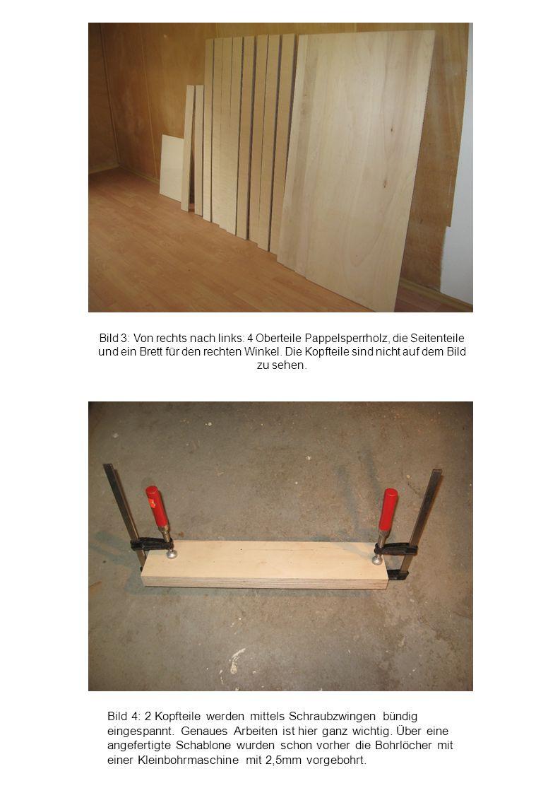 Bild 4: 2 Kopfteile werden mittels Schraubzwingen bündig eingespannt. Genaues Arbeiten ist hier ganz wichtig. Über eine angefertigte Schablone wurden
