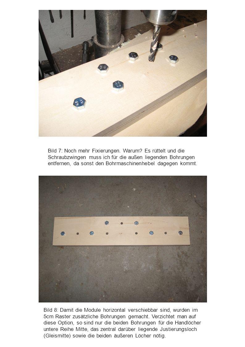 Bild 8: Damit die Module horizontal verschiebbar sind, wurden im 5cm Raster zusätzliche Bohrungen gemacht. Verzichtet man auf diese Option, so sind nu