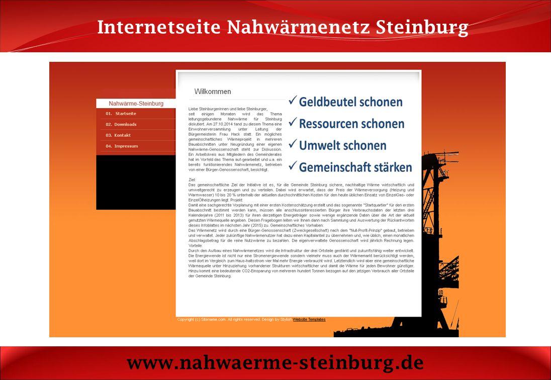 Rückantwort Nahwärmenetz Steinburg www.nahwaerme-steinburg.de Wenn Sie mehr über das Nahwärmenetz Steinburg erfahren möchten, dann geben Sie bitte diese Rückantwort heute beim Arbeitskreis ab.