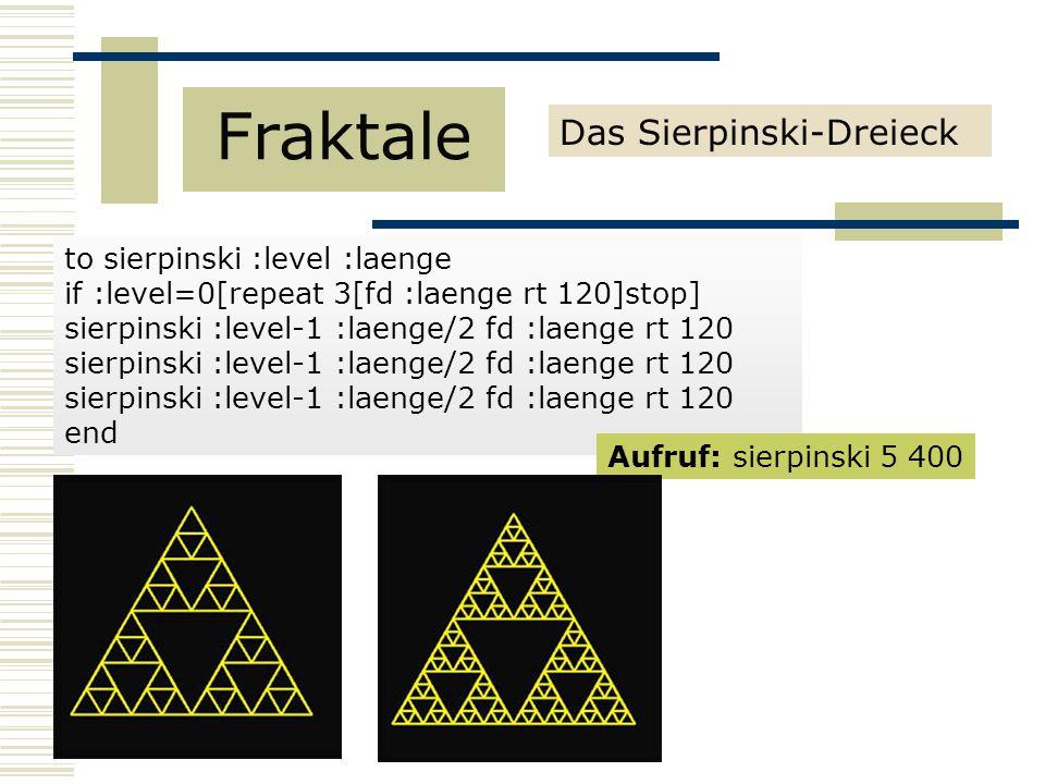 to sierpinski :level :laenge if :level=0[repeat 3[fd :laenge rt 120]stop] sierpinski :level-1 :laenge/2 fd :laenge rt 120 end Aufruf: sierpinski 5 400 Das Sierpinski-Dreieck Fraktale