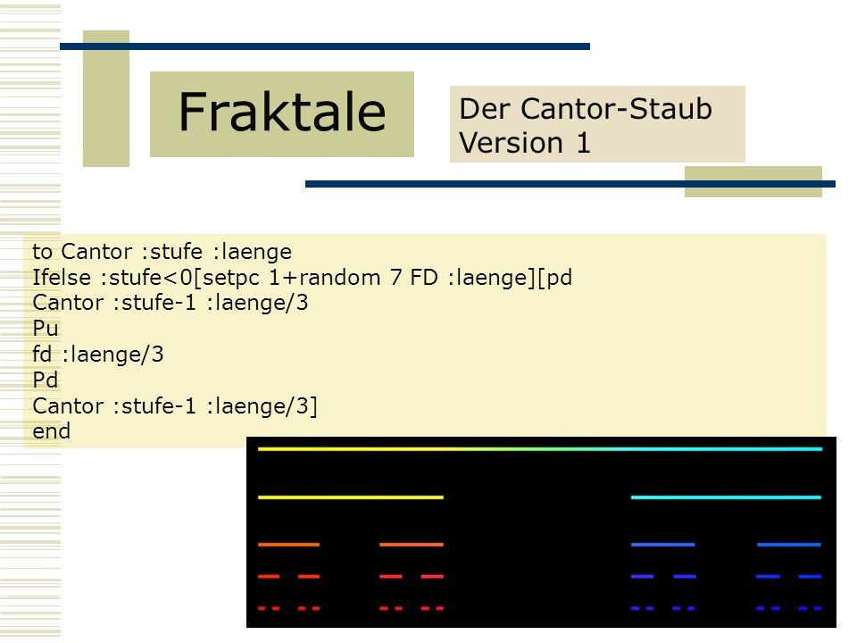Der Cantor-Staub Version 1 Fraktale to Cantor :stufe :laenge Ifelse :stufe<0[setpc 1+random 7 FD :laenge][pd Cantor :stufe-1 :laenge/3 Pu fd :laenge/3 Pd Cantor :stufe-1 :laenge/3] end