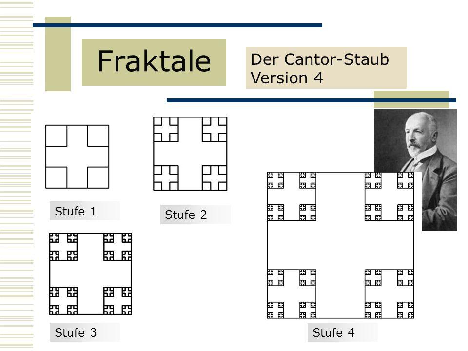 Der Cantor-Staub Version 4 Fraktale Stufe 1 Stufe 3 Stufe 2 Stufe 4