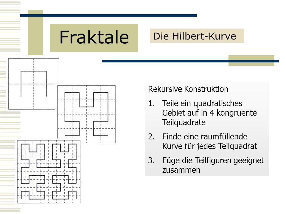 Rekursive Konstruktion 1.Teile ein quadratisches Gebiet auf in 4 kongruente Teilquadrate 2.Finde eine raumfüllende Kurve für jedes Teilquadrat 3.Füge die Teilfiguren geeignet zusammen Fraktale Die Hilbert-Kurve