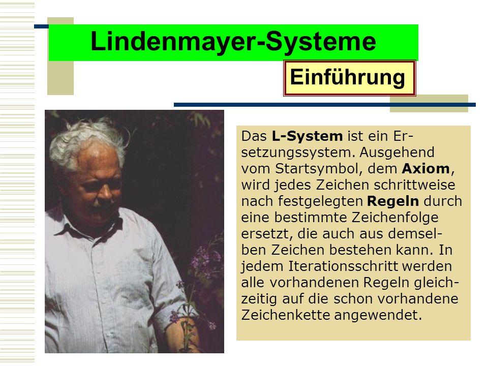 Lindenmayer-Systeme Einführung Das L-System ist ein Er- setzungssystem.