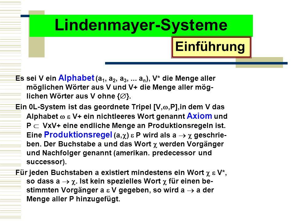Lindenmayer-Systeme Es sei V ein Alphabet (a 1, a 2, a 3,...