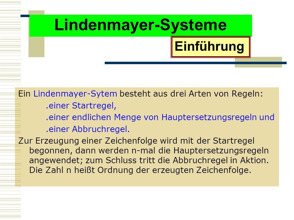 Lindenmayer-Systeme Ein Lindenmayer-Sytem besteht aus drei Arten von Regeln:.einer Startregel,.einer endlichen Menge von Hauptersetzungsregeln und.einer Abbruchregel.