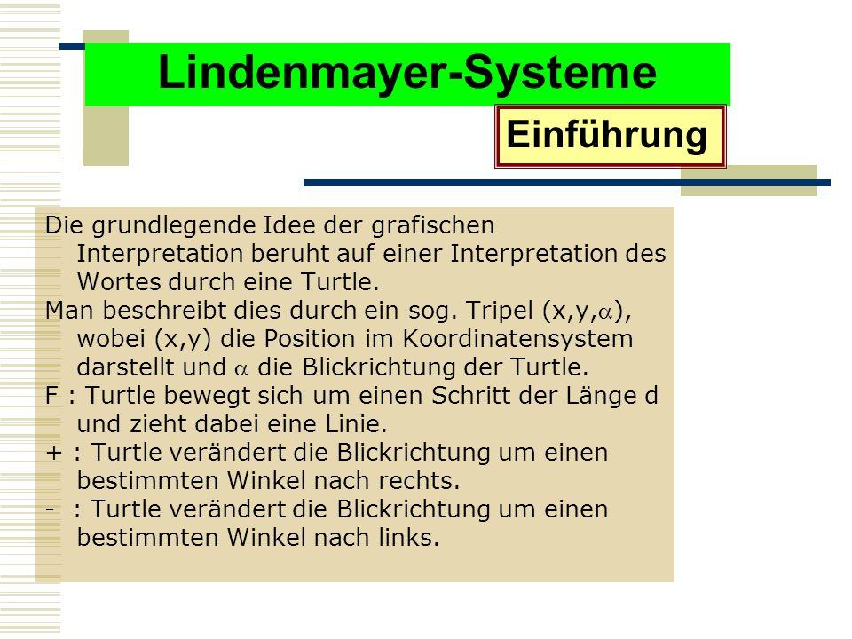 Lindenmayer-Systeme Die grundlegende Idee der grafischen Interpretation beruht auf einer Interpretation des Wortes durch eine Turtle.