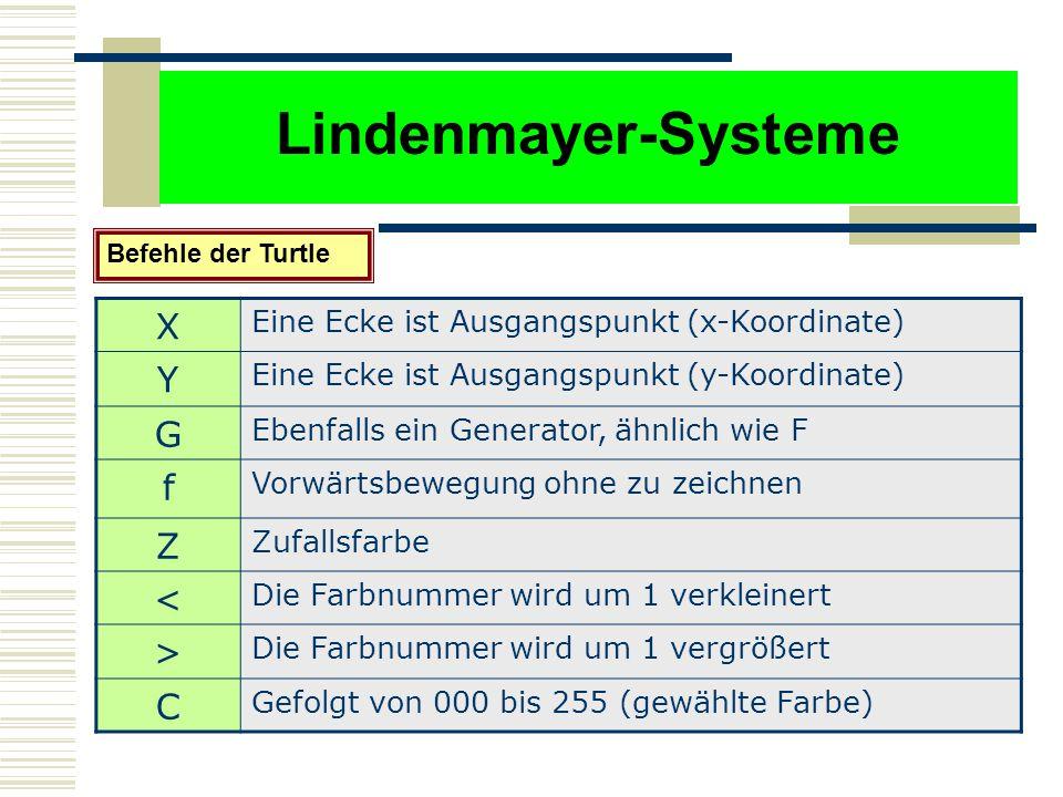 Lindenmayer-Systeme Befehle der Turtle X Eine Ecke ist Ausgangspunkt (x-Koordinate) Y Eine Ecke ist Ausgangspunkt (y-Koordinate) G Ebenfalls ein Generator, ähnlich wie F f Vorwärtsbewegung ohne zu zeichnen Z Zufallsfarbe < Die Farbnummer wird um 1 verkleinert > Die Farbnummer wird um 1 vergrößert C Gefolgt von 000 bis 255 (gewählte Farbe)