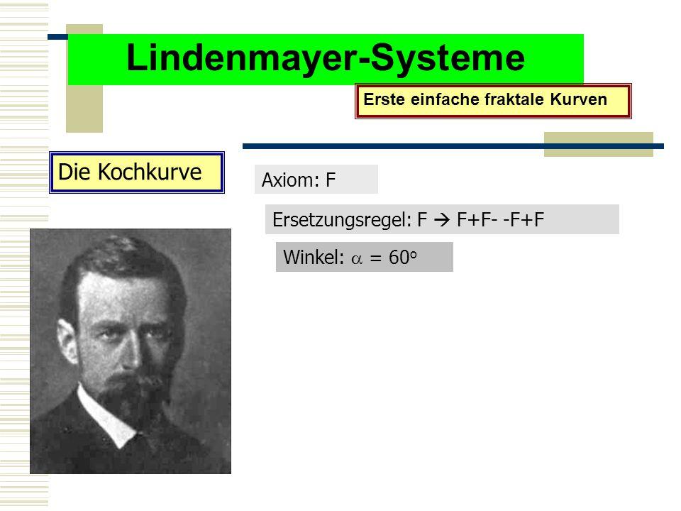 Lindenmayer-Systeme Erste einfache fraktale Kurven Die Kochkurve Axiom: F Ersetzungsregel: F  F+F- -F+F Winkel:  = 60 o