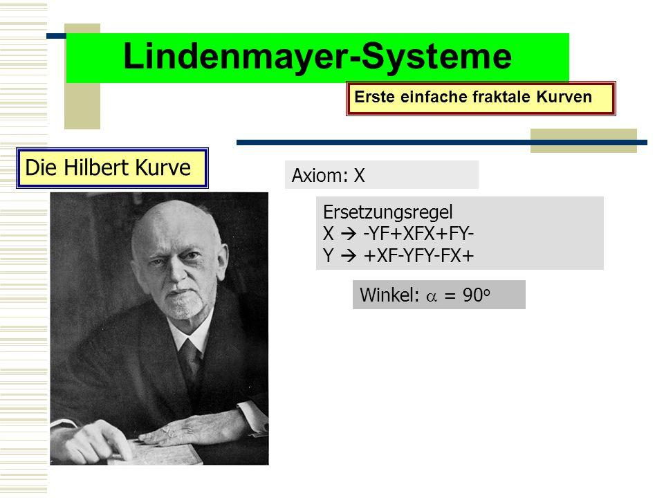 Lindenmayer-Systeme Erste einfache fraktale Kurven Die Hilbert Kurve Axiom: X Ersetzungsregel X  -YF+XFX+FY- Y  +XF-YFY-FX+ Winkel:  = 90 o