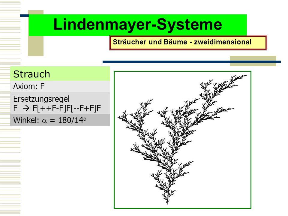 Lindenmayer-Systeme Sträucher und Bäume - zweidimensional Axiom: F Ersetzungsregel F  F[++F-F]F[--F+F]F Winkel:  = 180/14 o Strauch