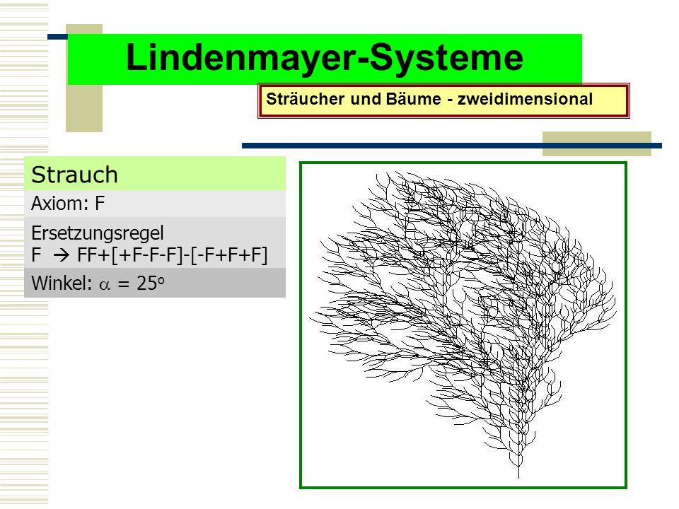 Lindenmayer-Systeme Sträucher und Bäume - zweidimensional Axiom: F Ersetzungsregel F  FF+[+F-F-F]-[-F+F+F] Winkel:  = 25 o Strauch