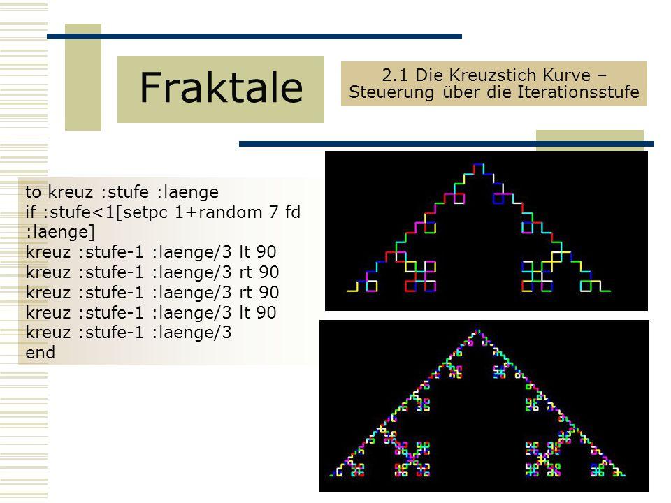 to kreuz :stufe :laenge if :stufe<1[setpc 1+random 7 fd :laenge] kreuz :stufe-1 :laenge/3 lt 90 kreuz :stufe-1 :laenge/3 rt 90 kreuz :stufe-1 :laenge/3 lt 90 kreuz :stufe-1 :laenge/3 end Fraktale 2.1 Die Kreuzstich Kurve – Steuerung über die Iterationsstufe
