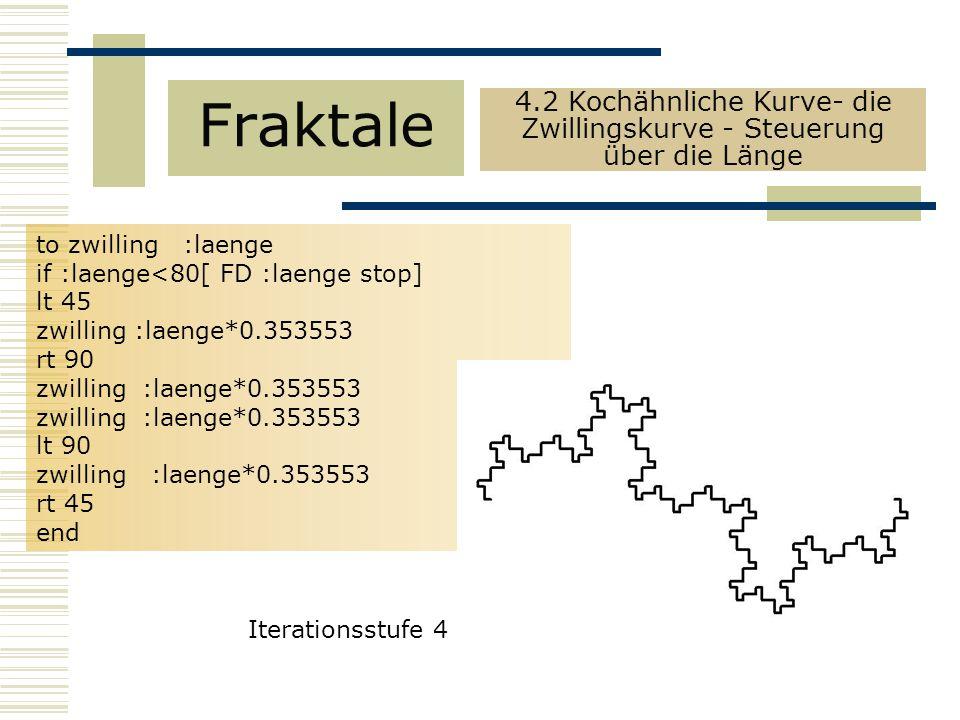 to zwilling :laenge if :laenge<80[ FD :laenge stop] lt 45 zwilling :laenge*0.353553 rt 90 zwilling :laenge*0.353553 lt 90 zwilling :laenge*0.353553 rt 45 end Fraktale 4.2 Kochähnliche Kurve- die Zwillingskurve - Steuerung über die Länge Iterationsstufe 4
