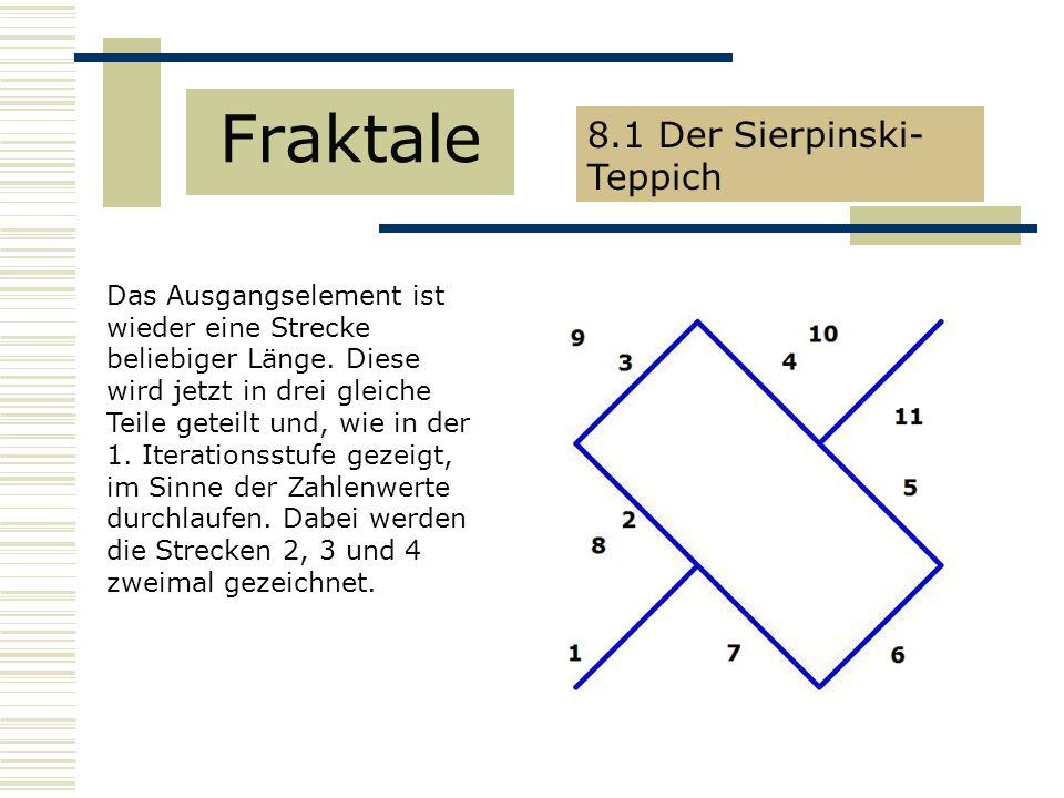 Fraktale 8.1 Der Sierpinski- Teppich Das Ausgangselement ist wieder eine Strecke beliebiger Länge.