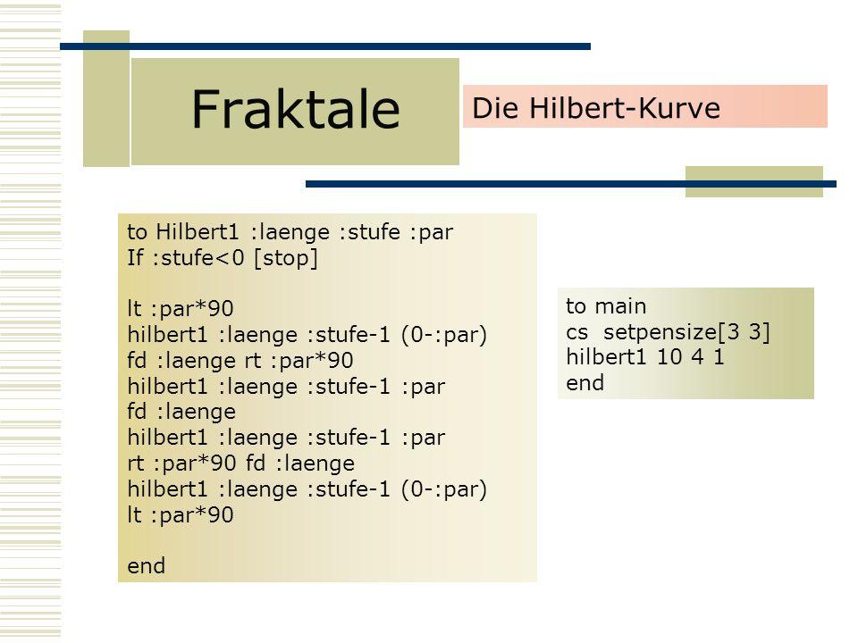Fraktale Die Hilbert-Kurve to Hilbert1 :laenge :stufe :par If :stufe<0 [stop] lt :par*90 hilbert1 :laenge :stufe-1 (0-:par) fd :laenge rt :par*90 hilbert1 :laenge :stufe-1 :par fd :laenge hilbert1 :laenge :stufe-1 :par rt :par*90 fd :laenge hilbert1 :laenge :stufe-1 (0-:par) lt :par*90 end to main cs setpensize[3 3] hilbert1 10 4 1 end