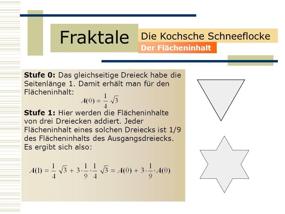 Stufe 0: Das gleichseitige Dreieck habe die Seitenlänge 1.