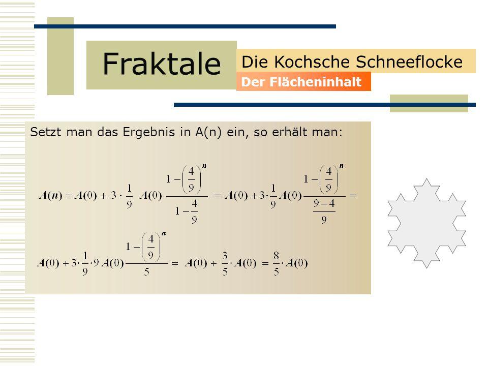 Setzt man das Ergebnis in A(n) ein, so erhält man: Fraktale Die Kochsche Schneeflocke Der Flächeninhalt
