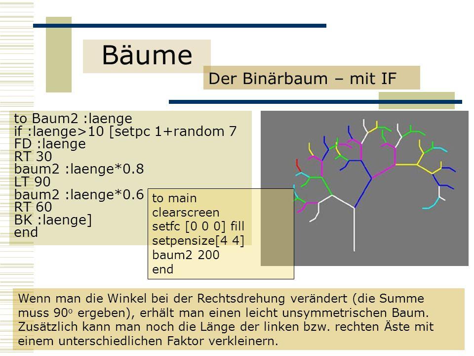 Bäume Der Binärbaum – mit IF to Baum2 :laenge if :laenge>10 [setpc 1+random 7 FD :laenge RT 30 baum2 :laenge*0.8 LT 90 baum2 :laenge*0.6 RT 60 BK :laenge] end Wenn man die Winkel bei der Rechtsdrehung verändert (die Summe muss 90 o ergeben), erhält man einen leicht unsymmetrischen Baum.