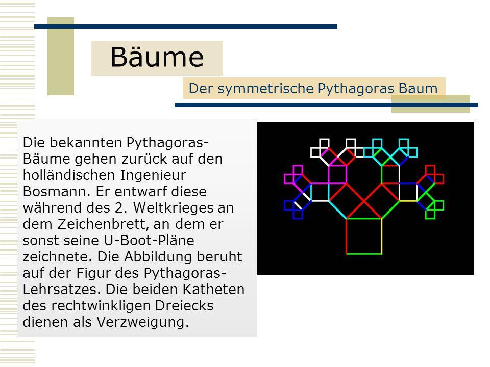 Die bekannten Pythagoras- Bäume gehen zurück auf den holländischen Ingenieur Bosmann.