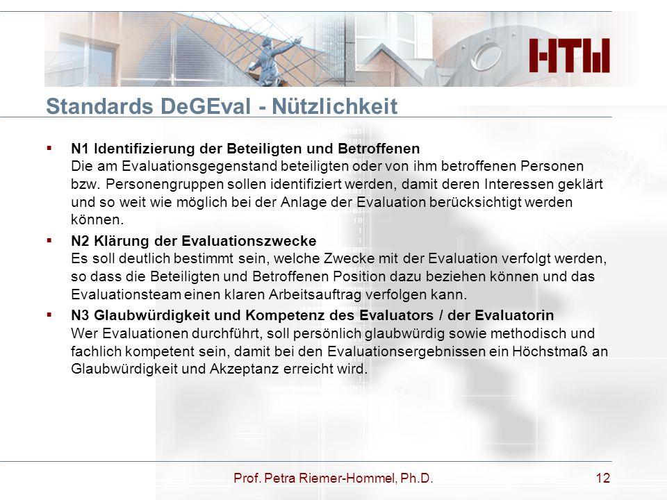 Standards DeGEval - Nützlichkeit Prof. Petra Riemer-Hommel, Ph.D.12  N1 Identifizierung der Beteiligten und Betroffenen Die am Evaluationsgegenstand