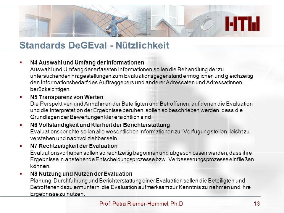 Standards DeGEval - Nützlichkeit Prof. Petra Riemer-Hommel, Ph.D.13  N4 Auswahl und Umfang der Informationen Auswahl und Umfang der erfassten Informa