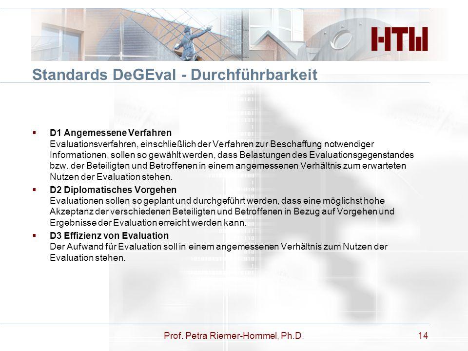 Standards DeGEval - Durchführbarkeit  D1 Angemessene Verfahren Evaluationsverfahren, einschließlich der Verfahren zur Beschaffung notwendiger Informa