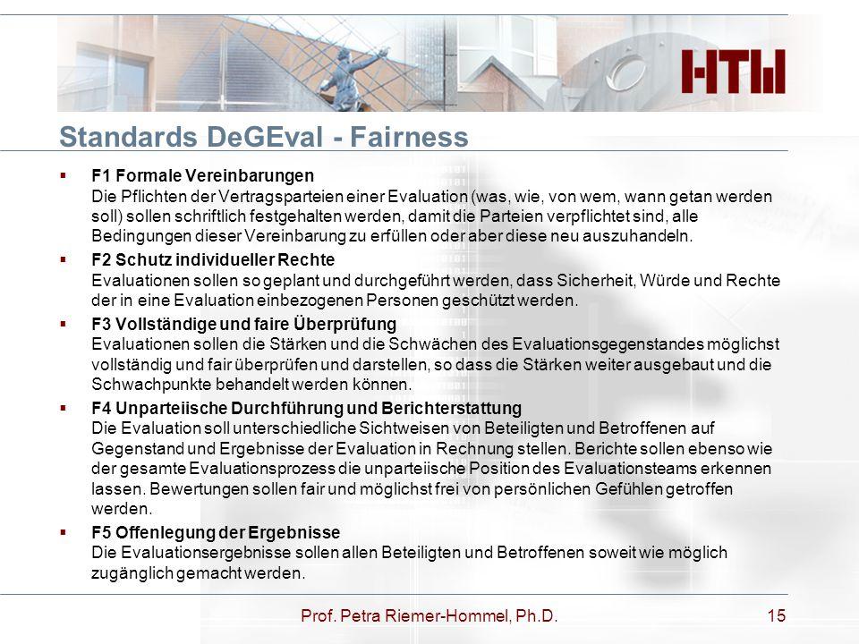Standards DeGEval - Fairness  F1 Formale Vereinbarungen Die Pflichten der Vertragsparteien einer Evaluation (was, wie, von wem, wann getan werden sol