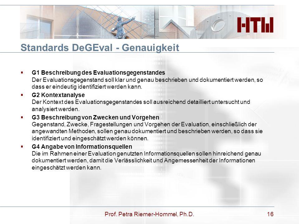 Standards DeGEval - Genauigkeit  G1 Beschreibung des Evaluationsgegenstandes Der Evaluationsgegenstand soll klar und genau beschrieben und dokumentie