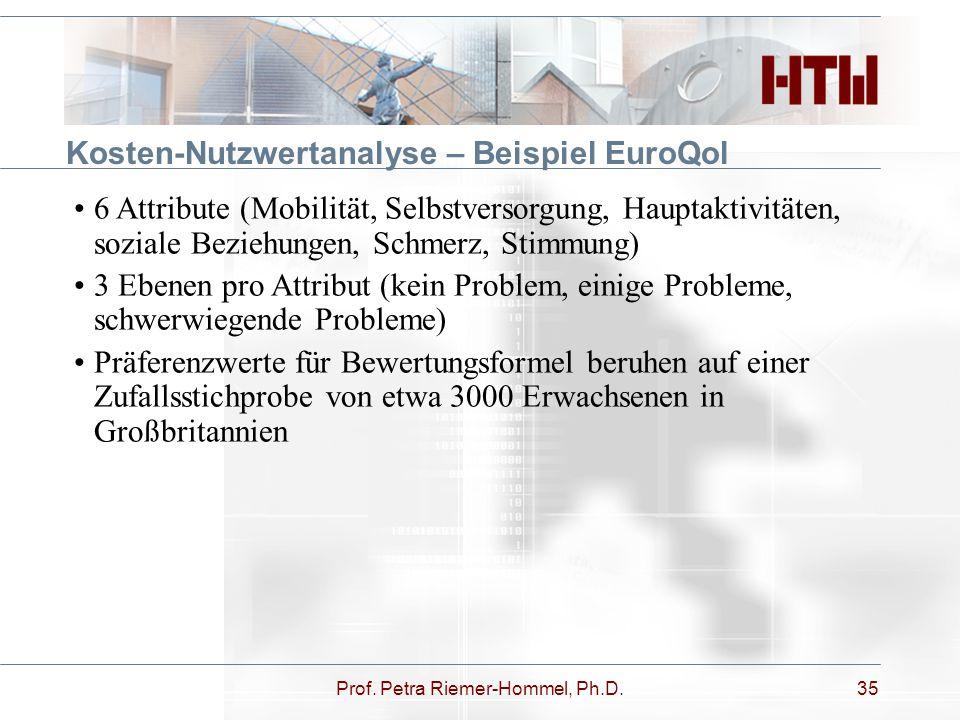 Prof. Petra Riemer-Hommel, Ph.D.35 Kosten-Nutzwertanalyse – Beispiel EuroQol 6 Attribute (Mobilität, Selbstversorgung, Hauptaktivitäten, soziale Bezie