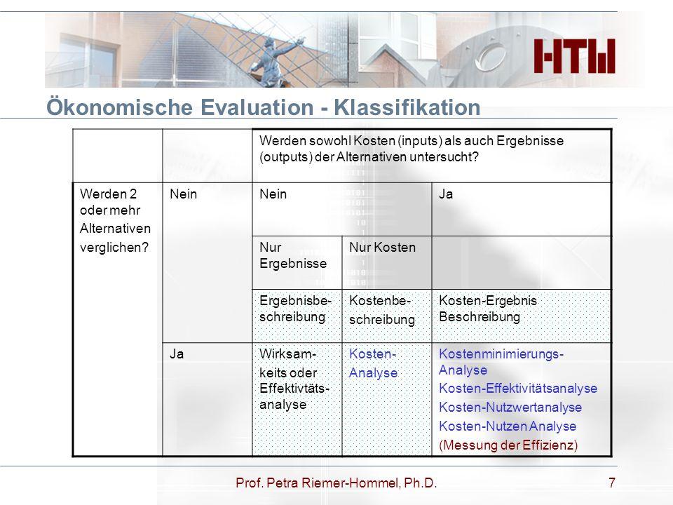 Prof. Petra Riemer-Hommel, Ph.D.7 Ökonomische Evaluation - Klassifikation Werden sowohl Kosten (inputs) als auch Ergebnisse (outputs) der Alternativen