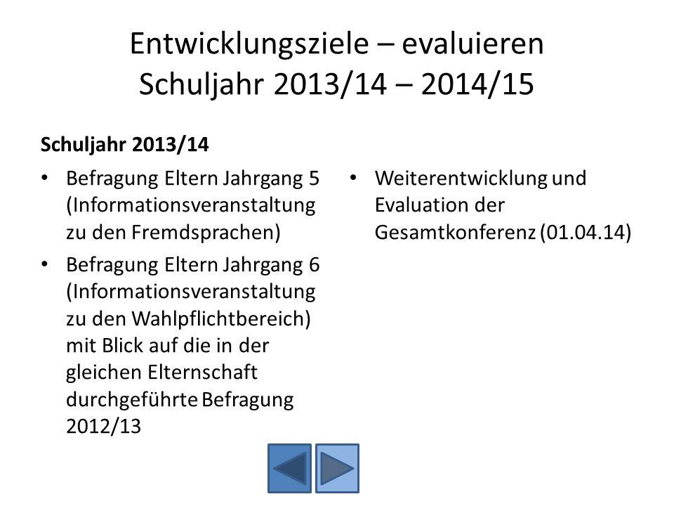 Entwicklungsziele – evaluieren Schuljahr 2013/14 – 2014/15 Schuljahr 2013/14 Befragung Eltern Jahrgang 5 (Informationsveranstaltung zu den Fremdsprach