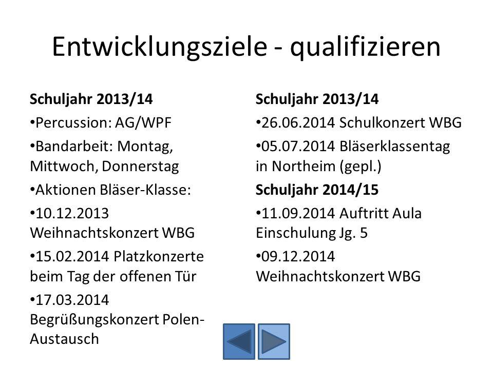 Entwicklungsziele - qualifizieren Schuljahr 2013/14 Percussion: AG/WPF Bandarbeit: Montag, Mittwoch, Donnerstag Aktionen Bläser-Klasse: 10.12.2013 Wei