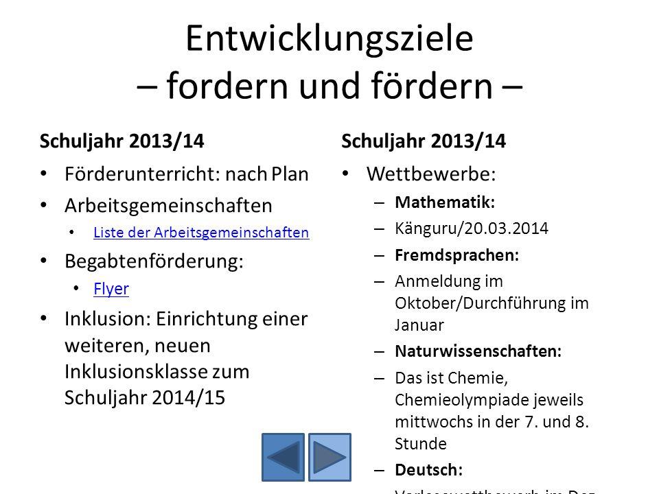 Entwicklungsziele – fordern und fördern – Schuljahr 2013/14 Förderunterricht: nach Plan Arbeitsgemeinschaften Liste der Arbeitsgemeinschaften Begabten