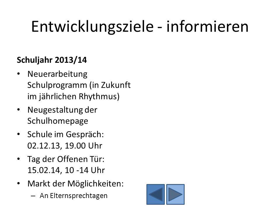 Entwicklungsziele - informieren Schuljahr 2013/14 Neuerarbeitung Schulprogramm (in Zukunft im jährlichen Rhythmus) Neugestaltung der Schulhomepage Sch