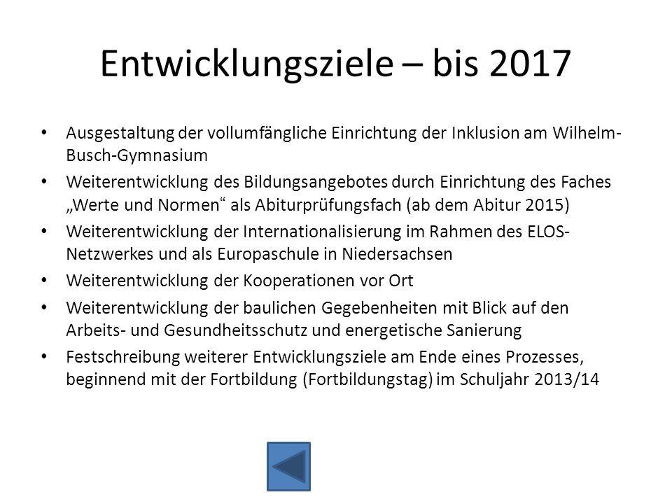 Entwicklungsziele – bis 2017 Ausgestaltung der vollumfängliche Einrichtung der Inklusion am Wilhelm- Busch-Gymnasium Weiterentwicklung des Bildungsang