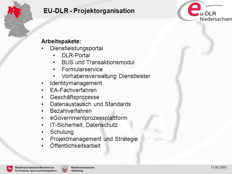 Niedersächsisches Ministerium für Inneres, Sport und Integration Niedersächsischer Städtetag 11.06.2009 EU-DLR - Projektorganisation Arbeitspakete: Di