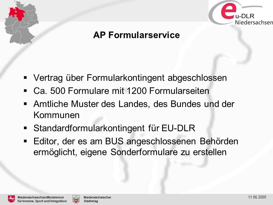 Niedersächsisches Ministerium für Inneres, Sport und Integration Niedersächsischer Städtetag 11.06.2009 AP Formularservice  Vertrag über Formularkont