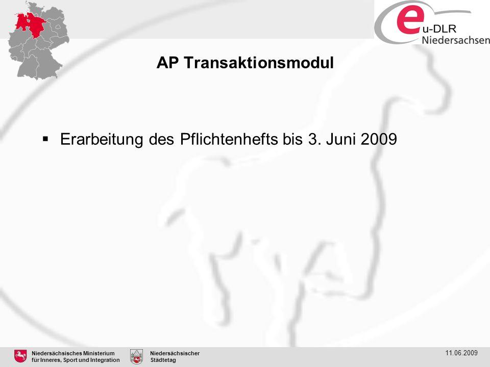 Niedersächsisches Ministerium für Inneres, Sport und Integration Niedersächsischer Städtetag 11.06.2009 AP Transaktionsmodul  Erarbeitung des Pflicht