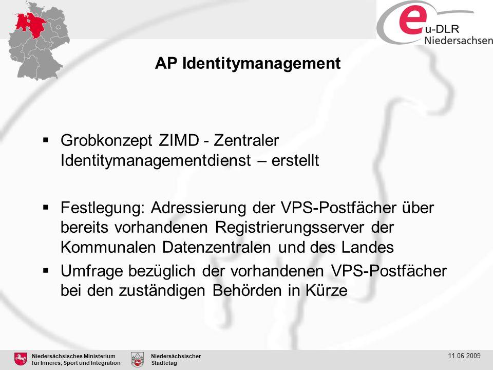 Niedersächsisches Ministerium für Inneres, Sport und Integration Niedersächsischer Städtetag 11.06.2009 AP Identitymanagement  Grobkonzept ZIMD - Zen