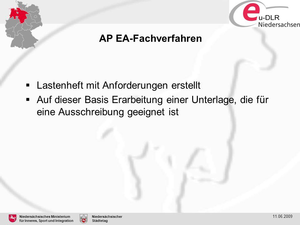 Niedersächsisches Ministerium für Inneres, Sport und Integration Niedersächsischer Städtetag 11.06.2009 AP EA-Fachverfahren  Lastenheft mit Anforderu