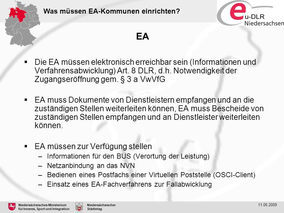 Niedersächsisches Ministerium für Inneres, Sport und Integration Niedersächsischer Städtetag 11.06.2009 EA  Die EA müssen elektronisch erreichbar sei