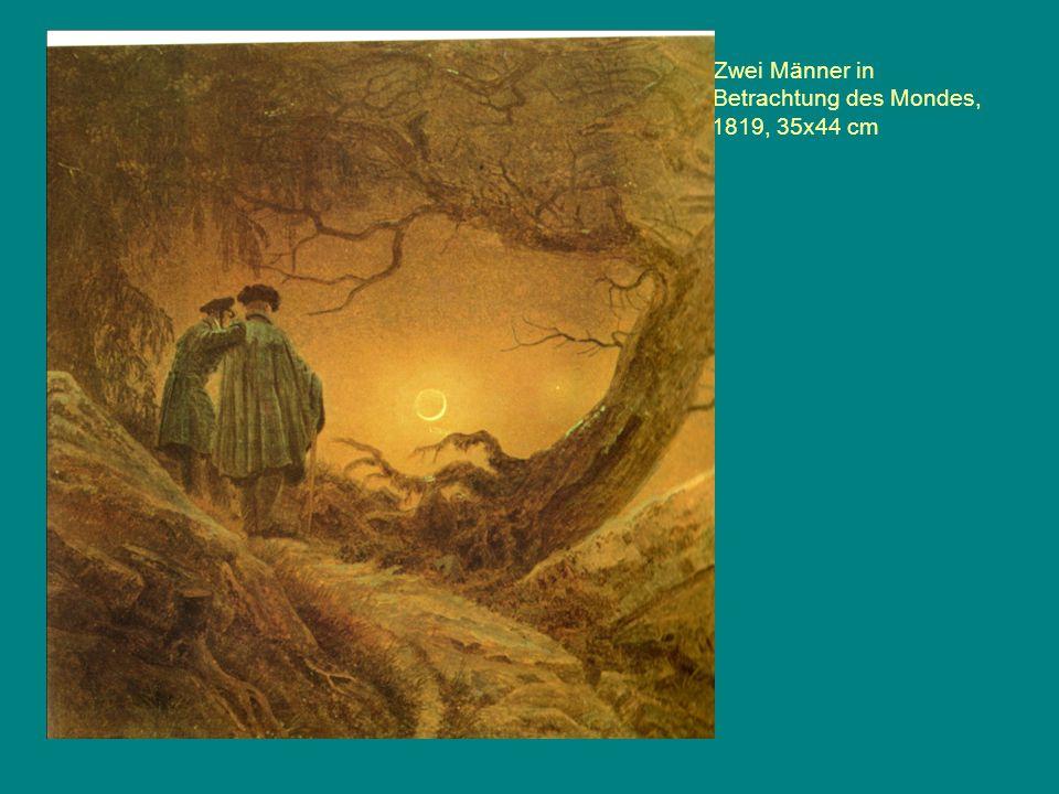 Zwei Männer in Betrachtung des Mondes, 1819, 35x44 cm