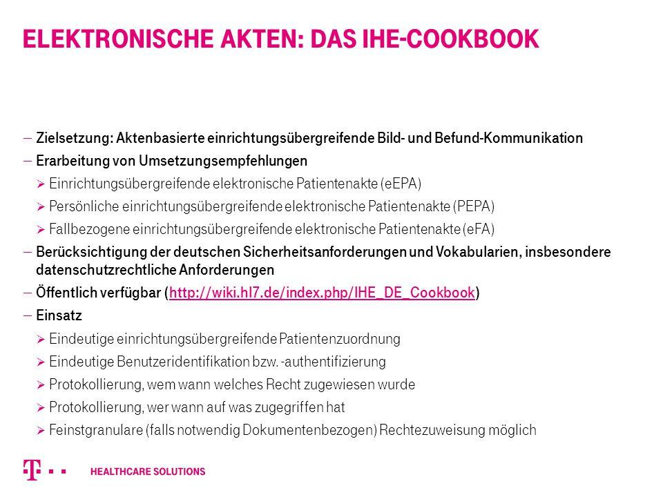 Elektronische Akten: das IHE-Cookbook  Zielsetzung: Aktenbasierte einrichtungsübergreifende Bild- und Befund-Kommunikation  Erarbeitung von Umsetzun