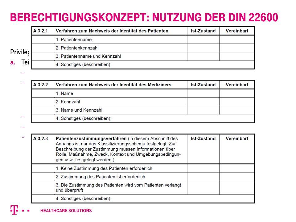 Berechtigungskonzept: Nutzung der DIN 22600 Privilegienmanagement und Zugriffssteuerung a. Teil 1  Zieldefinition  Definitionen, z.B.  Authentifizi