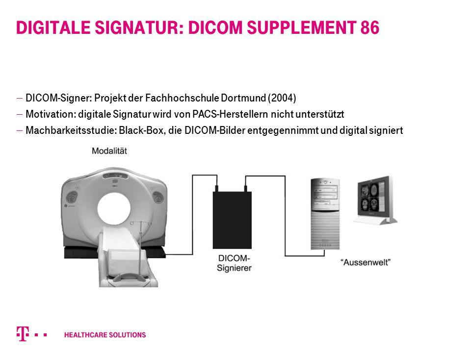 Digitale Signatur: DICOM Supplement 86  DICOM-Signer: Projekt der Fachhochschule Dortmund (2004)  Motivation: digitale Signatur wird von PACS-Herste