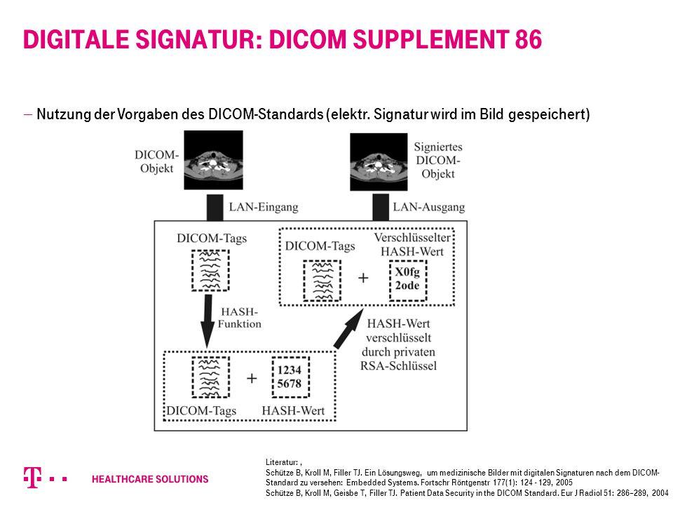 Digitale Signatur: DICOM Supplement 86  Nutzung der Vorgaben des DICOM-Standards (elektr. Signatur wird im Bild gespeichert) Literatur: ' Schütze B,