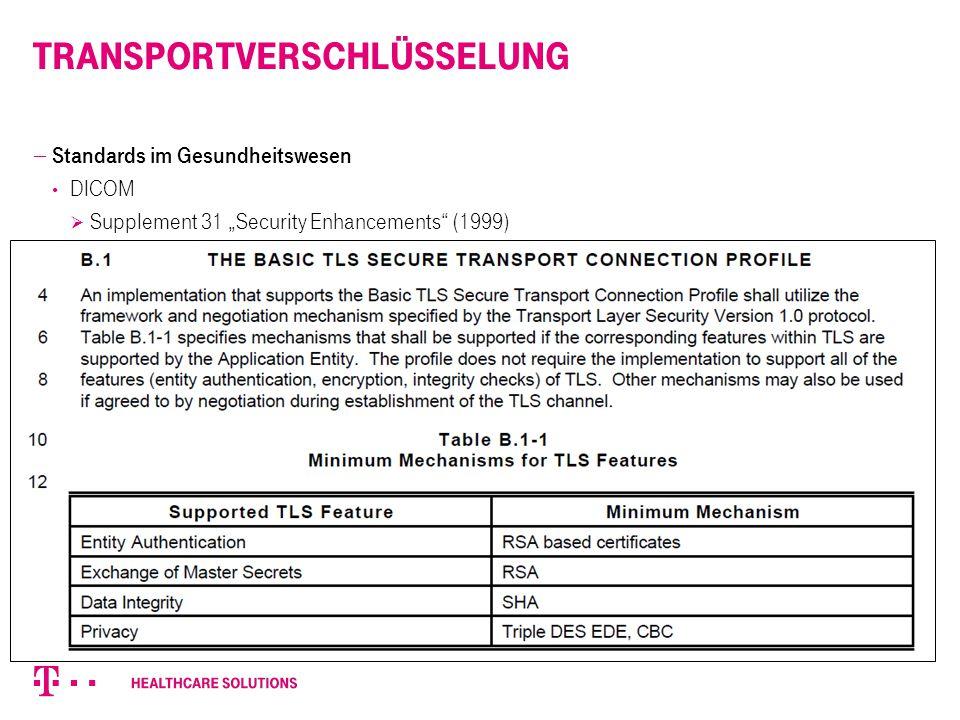 "TransportVerschlüsselung  Standards im Gesundheitswesen DICOM  Supplement 31 ""Security Enhancements"" (1999) a. Description of the protocol framework"